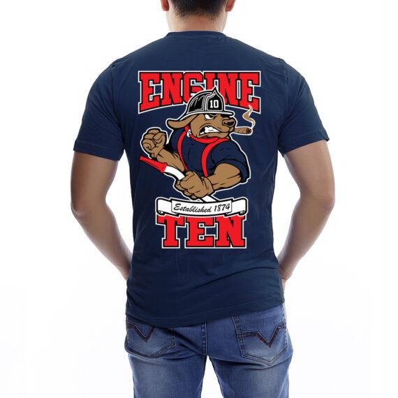 Engine 10 Navy Tshirt Back