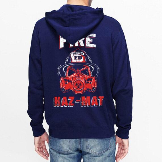 Fire Hazmat Navy Hoodie Back