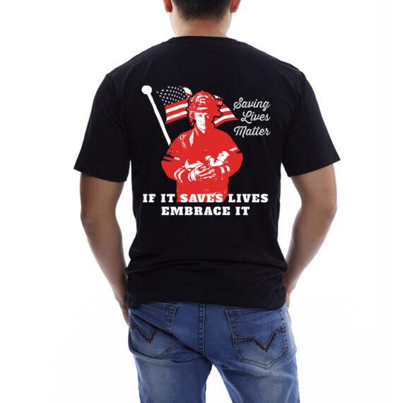 Saving Lives Matter Blk Tshirt Men – Back