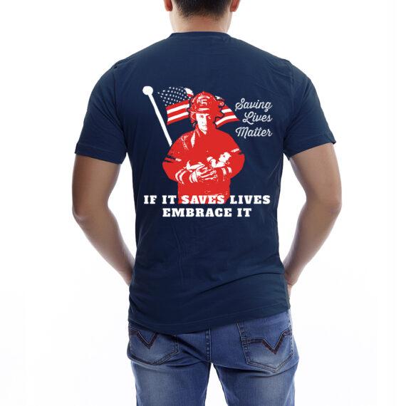 Saving Lives Matter Nvy Tshirt Men – Back