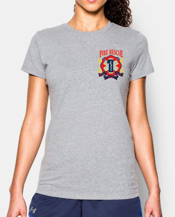 Fire Rescue Ladies Tshirt heather gray front