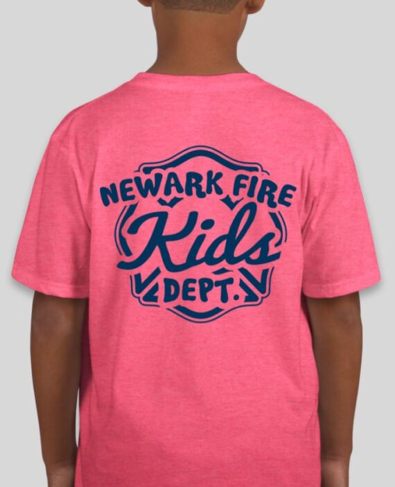 Newark Fire Kids Heather Hot Pink Mockup – Back