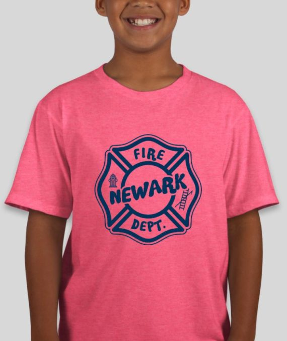 Newark Fire Kids Heather Hot Pink Mockup – Front